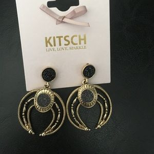 Magnificent Charcoal Pave & Gold Earrings